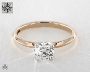 1 CARAT K-VS1 EXCELLENT CUT ROUND DIAMOND YELLOW GOLD RING