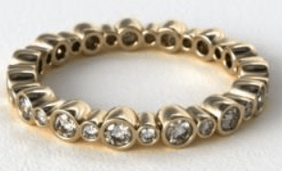 18K Yellow Gold Alternating Bezel Eternity Wedding Ring