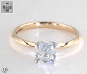 Asscher Diamond Shape 0.91ct G-VS2 Excellent Ring