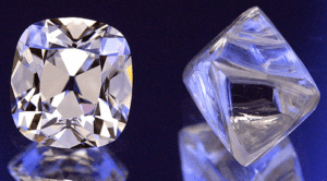 Cushion cut diamond and its natural rough