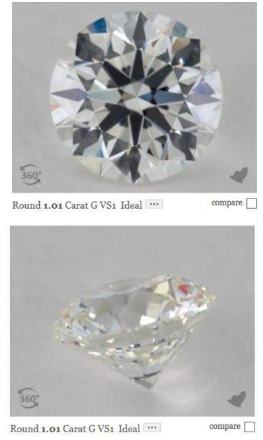 G colored diamond viewed from front and back
