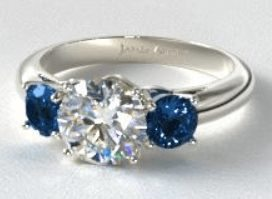 three stone ring setting with blue sapphires - Engagement Ring And Wedding Ring