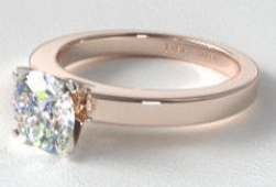 14K Rose Gold Flat Edged Diamond Solitaire Engagement Ring