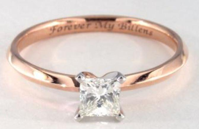 0.55ct K colored VVS2 princess cut diamond on a Solitaire rose gold ring setting