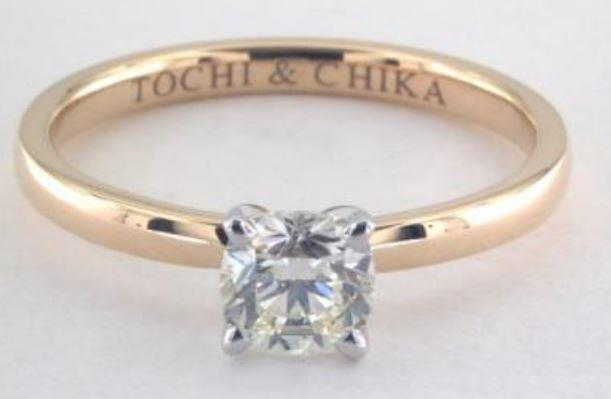 0.70ct J colored VVS1 cushion cut diamond on a Solitaire yellow gold ring