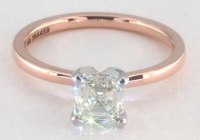 1.00ct K colored VS1 Asscher cut diamond on a Solitaire rose gold ring setting