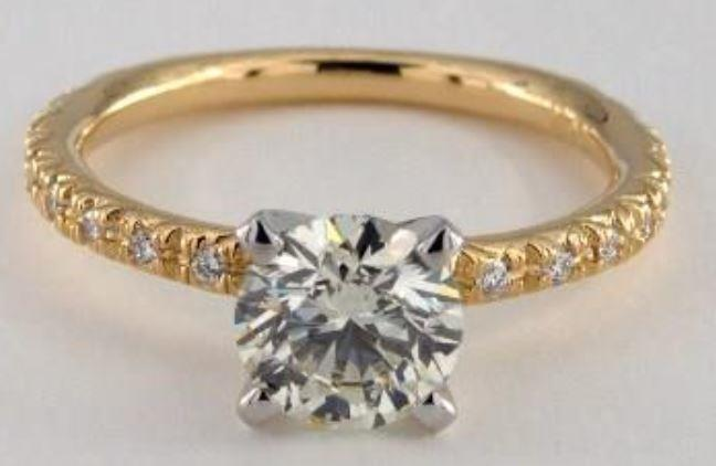 1.04ct K colored VS1 diamond on yellow gold pavé ring setting