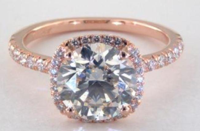 2.52ct K colored VS1 diamond on rose gold Halo ring setting