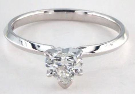 0.51ct H VS2 Heart shaped Diamond on White Gold Ring