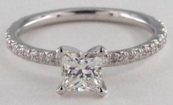 0.7ct G colored VS1 Princess Cut Diamond on a Pave White Gold Ring