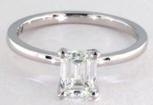 0.96ct I-colored VVS2 Emerald Cut Diamond on Solitaire Platinum Ring