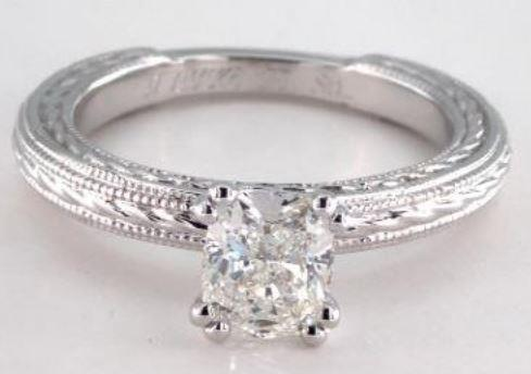 1.00ct H-colored SI2 Cushion Cut Diamond on a Platinum Etched Rope Solitaire Ring Setting