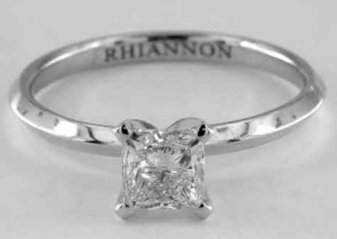 1.00ct I-colored SI2 Princess Cut Diamond on a Platinum Ring Setting