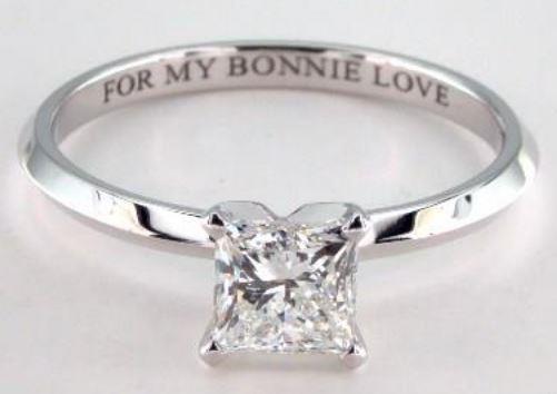 1.20ct G-colored VS1 Princess Cut Diamond set onto a Platinum Ring