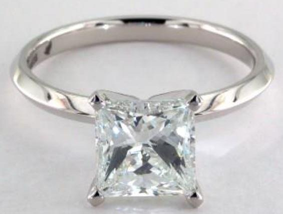 2.02ct I colored VS2 princess cut diamond on a Solitaire White Gold Ring
