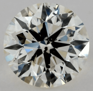 1.30 CARAT K-SI2 EXCELLENT CUT ROUND DIAMOND with black crystak inclusion