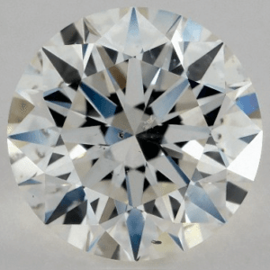 1.30 CARAT K-SI2 EXCELLENT CUT ROUND DIAMOND with white crystal inclusion