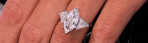Marquise Cut Diamonds on finger 2