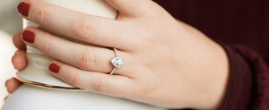 Pear-Shaped Diamonds on Finger