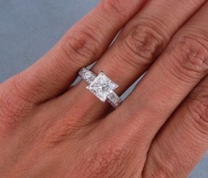 Eye Clean 2 Carat Princess Cut Diamond Ring