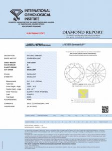 IGI - 1.00 CARAT G-VS2 EXCELLENT CUT ROUND DIAMOND