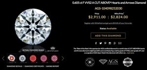 0.605 ct F VVS2 A CUT ABOVE® Hearts and Arrows Diamond