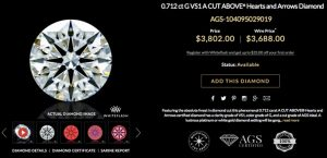 0.712 ct G VS1 A CUT ABOVE® Hearts and Arrows Diamond
