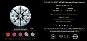 0.93 ct G VS2 A CUT ABOVE® Hearts and Arrows Diamond