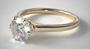 14K YELLOW GOLD TAPERED SIX PRONG DIAMOND ENGAGEMENT RING SKU-17142Y14