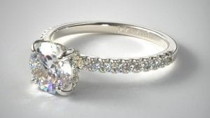 14K WHITE GOLD PETITE PAVE CROWN DIAMOND ENGAGEMENT RING