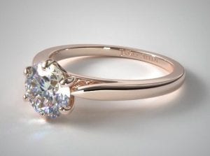 14K ROSE GOLD PETITE FLOWER SOLITAIRE ENGAGEMENT RING SKU-17148R14