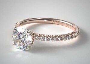 14K ROSE GOLD PETITE PAVE ENGAGEMENT RING SKU-17648R14