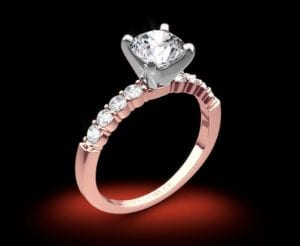 14k Rose Gold Benchmark SP4 Shared-Prong Diamond Engagement Ring