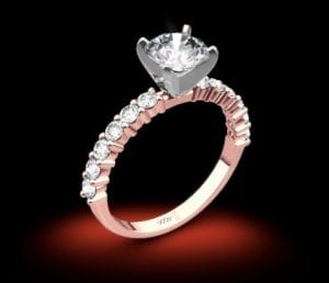 18k Rose Gold Diamonds for an Eternity Half Diamond Engagement Ring with Platinum Head