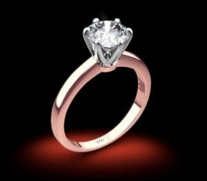 18k Rose Gold Exquisite Half Round Solitaire Engagement Ring with White Gold Head