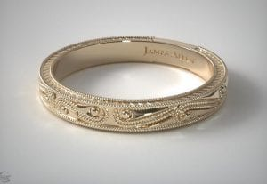 14K Yellow Gold Engraved Wedding Band