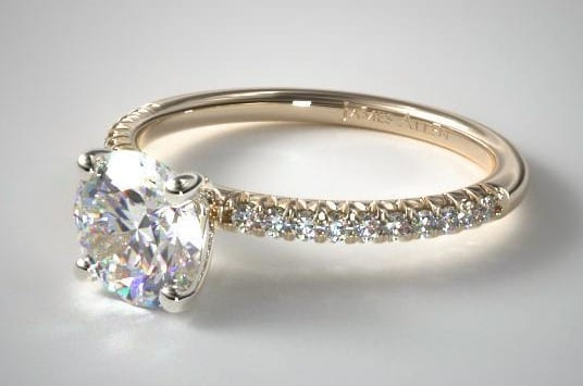 14K YELLOW GOLD PETITE PAVE ENGAGEMENT RING (FLUSH FIT)